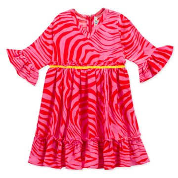 Popsicles Clothing | Popsicles Girls Crepe Waves Dress - Pink & Red (1-2 Years)