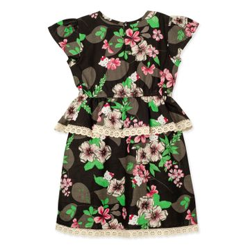 Popsicles Clothing | Popsicles Girls Cotton Gardenia Dress - Black (1-2 Years)