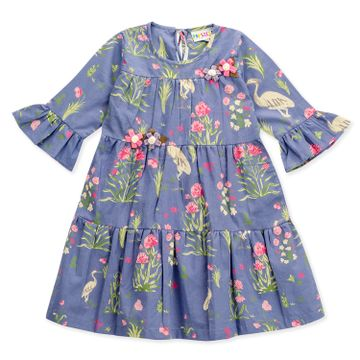 Popsicles Clothing | Popsicles Girls Cotton Bouquet Dress - Blue (1-2 Years)