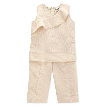 Popsicles Clothing | Popsicles Girls Linen Modish Pants Set - Beige (1-2 Years)