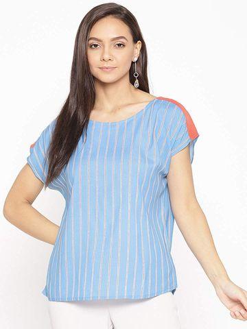 Porsorte   PORSORTE BLUE Strip Blouse