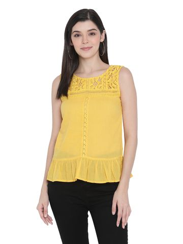 Porsorte | Porsorte Womens Pigment Washed Yellow Cotton Voile with Lace Embroidery Top