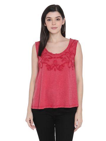 Porsorte | Porsorte Womens Red Cotton Slub Embroidery Sleeveless Top