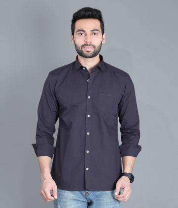 5th Anfold | FIFTH ANFOLD Men's Dark Grey Casual Slim Collar Full/Long Sleev Slim Fit Shirt