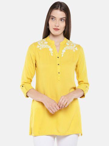 Ethnicity | Ethnicity Yellow Rayon Dobby Women Tunic