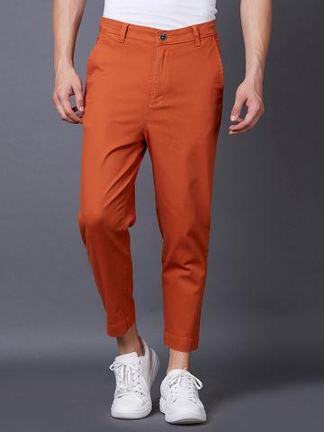 MARCA DISATI | Orange Solid Cropped Chinos