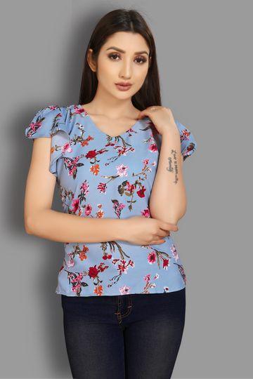 JINAL & JINAL | Casual Short Sleeve Printed Women Light Blue Top - BARKHA