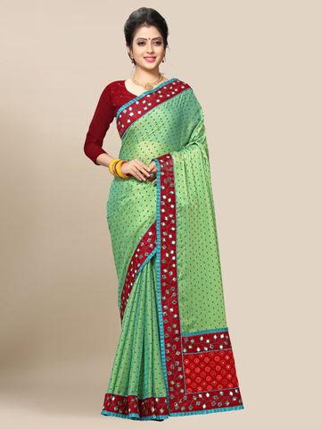 SATIMA | Women's Green Embroidery Georgette Saree