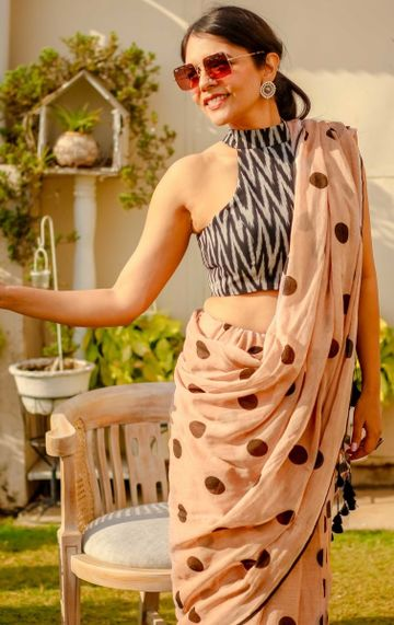 SATIMA | Satima Woman'S Pink Linen  Printed  Saree