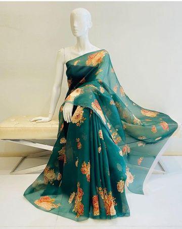 SATIMA | green color grogatte Digtel print saree