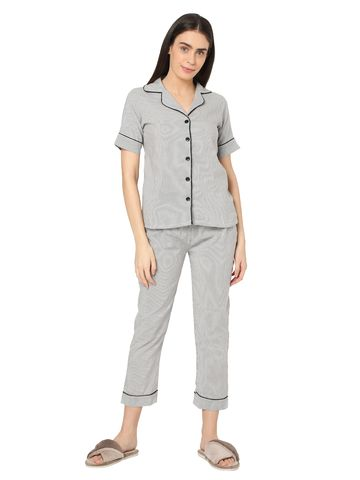 Smarty Pants | Smarty Pants women's grey & white stripes cotton night suit