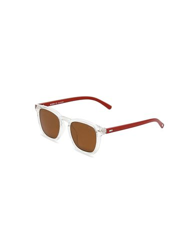 ENRICO | ENRICO Amanzi UV Protected Wayfarer Shape Unisex Sunglasses ( Lens - Orange | Frame - Transparent / Brown)