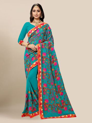 SATIMA | Women Bondi Blue Georgette Embroidered Party Saree