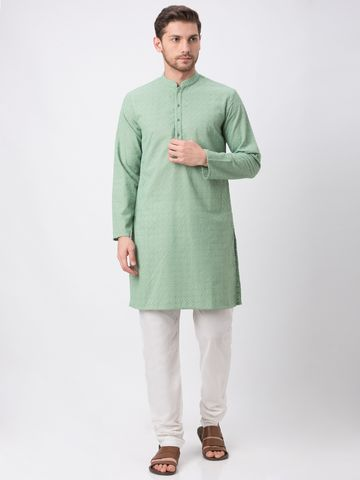 Ethnicity   Ethnicity Green Polyester Cotton Kp Set