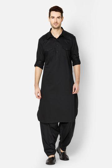 Ethnicity | Black Cotton Pathani Set