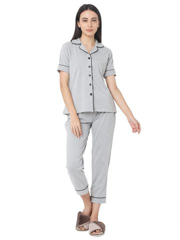 Smarty Pants | Smarty Pants women's cotton grey milenge night suit