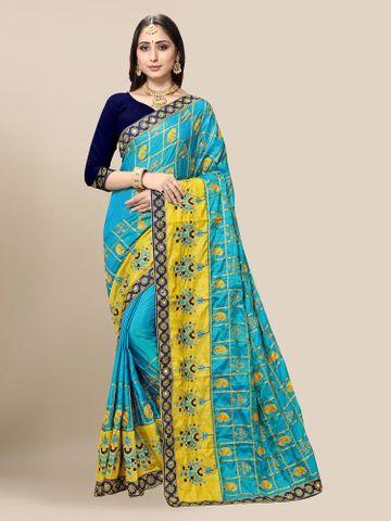SATIMA | Women's Embroidered Sky Blue Silk Blend Pochampally Leheriya Saree