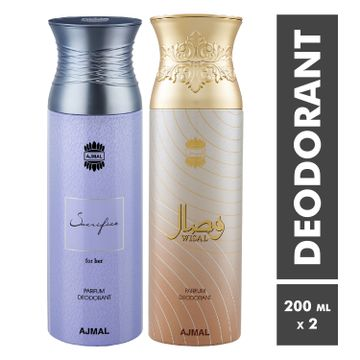 Ajmal | Sacrifice For Her and Wisal Deodorant Spray - Pack of 2