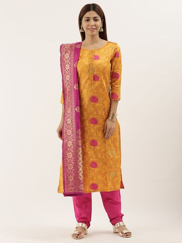 SATIMA | Women's Orange Jacquard Woven Un-stitched Dress material