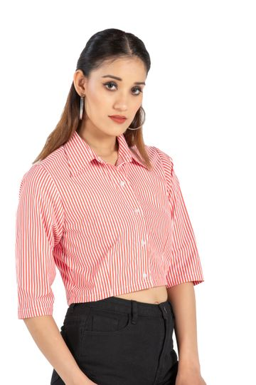 EUDORA CUT | Red Stripe Crop Top