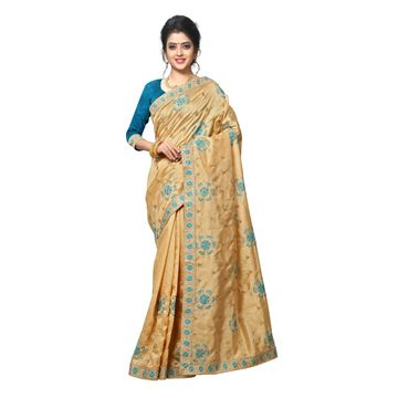 SATIMA | WOMEN'S SELF DESIGN BEIGE BLUE MIX SILK BLEND SAREE