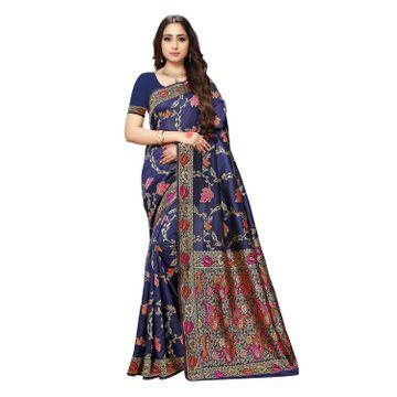POONAM TEXTILE | Poonam Textile Woven Banarasi Art Silk Saree (NAVY BLUE)