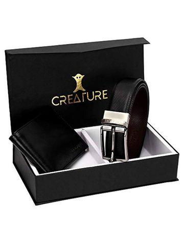 CREATURE | CREATURE Combo of Black Color Wallet for Men and Black-Brown Diamond Print Reversible Belt for Men