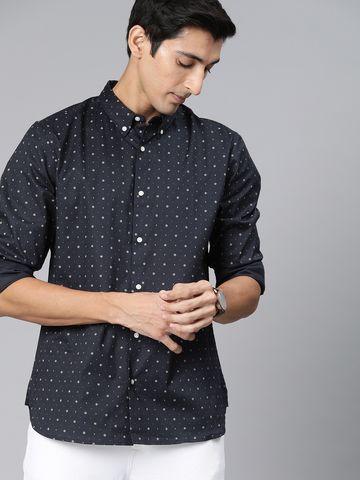 The Bear House | Men's Blue Printed Shirt