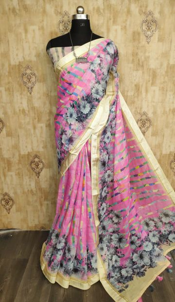 SATIMA | Satima Pink color line blend digital print saree