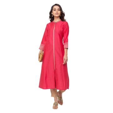 Ethnicity | Ethnicity Polyester A Line Women Pink Kurta