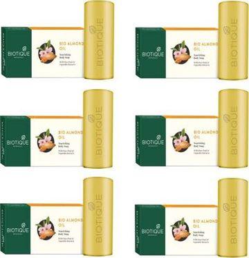 Biotique Advanced Ayurveda   BIOTIQUE Pack of 6 Bio Almond Oil Nourishing Body Soap, 150g
