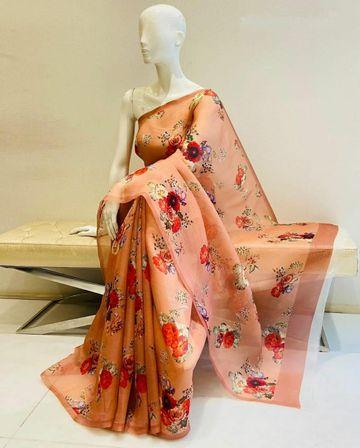 SATIMA | Orange color grogatte Digtel print saree