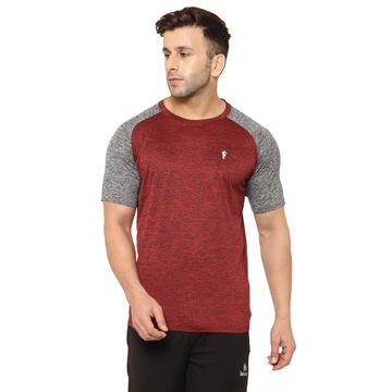 Eppe | EPPE Men's Round Neck Maroon and Grey Super Soft Micro Polyester Half Sleeve Sports Tshirt