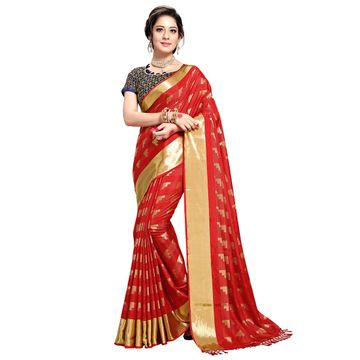 SATIMA | WOMEN'S RED SELF DESIGN PRINTED GEORGETTE SAREE