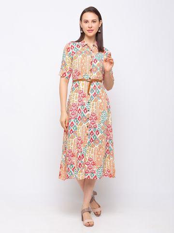 Ethnicity | Ethnicity Liva A Line Women Beige Dress