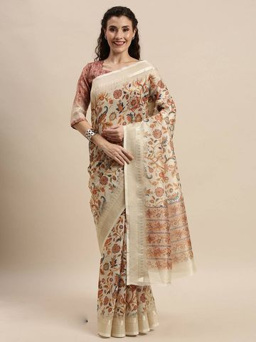SATIMA | Women's Brown Digital Floral Print Woven Saree