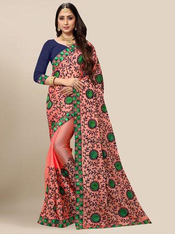SATIMA   Designer Gajari Chiffon Self-Design Embroidered Saree