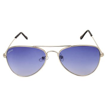 CREATURE | CREATURE Basic Blue Aviator UV-Protected Unisex Sunglasses (Lens-Blue|Frame-Silver)