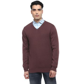 RED CHIEF | Wine Solid Sweater