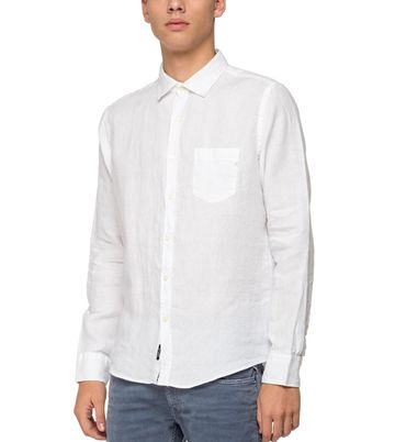 REPLAY   White garment dyed linen Shirt