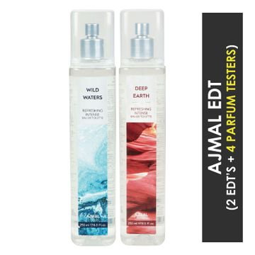 Ajmal | Ajmal Wild Waters & Deep Earth EDT  pack of 2 each 250ml (Total 500ML) for Unisex + 4 Parfum Testers