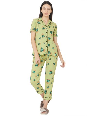 Smarty Pants | Mint green quircky cap printed night suit