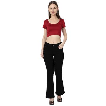 River of Design Jeans | Women black flared solid bootcut jeans