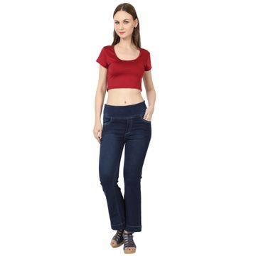 River of Design Jeans | Women dark blue bootcut high rise clean look stretchable jeans