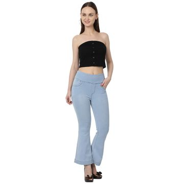 River of Design Jeans | Women light blue bootcut high rise clean look stretchable jeans