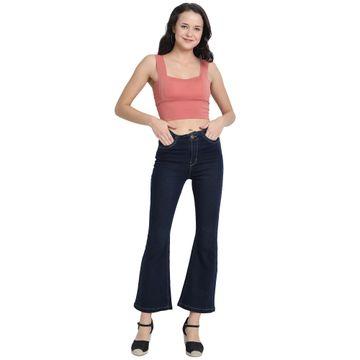 River of Design Jeans | Women dark blue clean look flared jeans