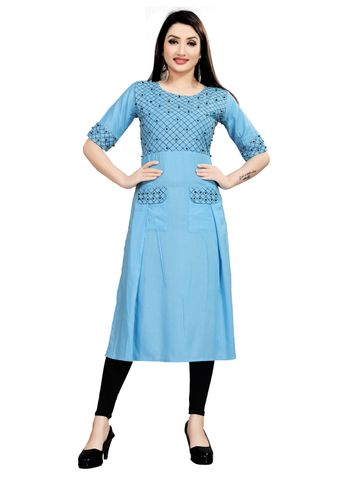 SATIMA | Women's Blue Flared Embroidered Rayon Kurta