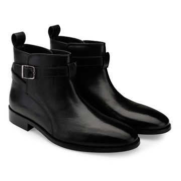 Hats Off Accessories | Hats Off Accessories Genuine Leather Black Buckle Ankle Boots