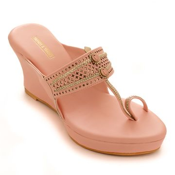 Trends & Trades | Womens Pink Laser Cut Faux Leather Kolhapuri Wedges
