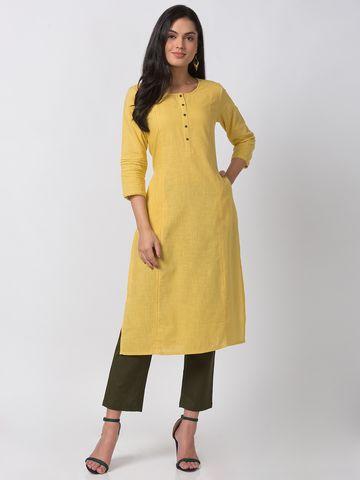 Ethnicity | Ethnicity Lemon Yellow Powerloom Women Kurta